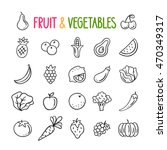 fruit and vegetables hand drawn ... | Shutterstock .eps vector #470349317