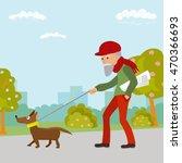 elderly man walking with his... | Shutterstock .eps vector #470366693