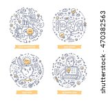 set of doodle line vector... | Shutterstock .eps vector #470382563