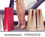 legs and red bags with brown... | Shutterstock . vector #470425913