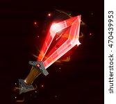 cartoon fantasy magic red sword....