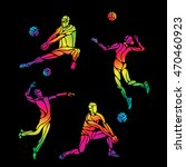 vector volleyball silhouettes...   Shutterstock .eps vector #470460923