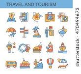 flat vector icons set. travel... | Shutterstock .eps vector #470494673