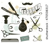 vintage barber shop objects... | Shutterstock .eps vector #470538317