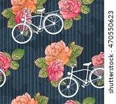 a bike. vintage. roses.... | Shutterstock .eps vector #470550623