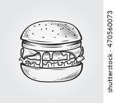 cheeseburger hand draw... | Shutterstock .eps vector #470560073