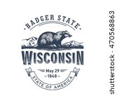 wisconsin  stylized emblem of... | Shutterstock .eps vector #470568863