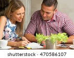 young colleagues cooperating ... | Shutterstock . vector #470586107