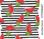 water melon seamless pattern... | Shutterstock . vector #470588687