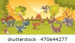 forest with volcano and funny... | Shutterstock .eps vector #470644277