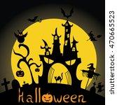 halloween  silhouette. vector... | Shutterstock .eps vector #470665523