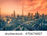 dubai skyline with beautiful... | Shutterstock . vector #470674007