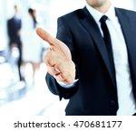 a business man with an open... | Shutterstock . vector #470681177