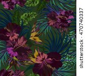 amazing vector tropical flowers ... | Shutterstock .eps vector #470740337