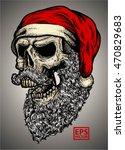 Hand Drawn Skull Wearing Santa...