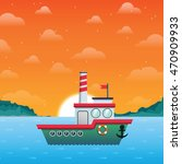 sunset seascape with ship....   Shutterstock .eps vector #470909933