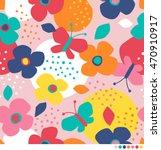 cute flower and butterfly... | Shutterstock .eps vector #470910917