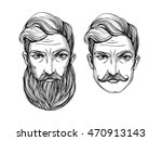 hand drawn portrait of  men... | Shutterstock .eps vector #470913143