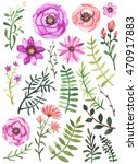 collection with watercolor pink ... | Shutterstock . vector #470917883