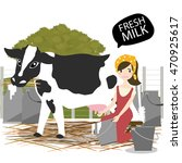 milking of a cow.vector... | Shutterstock .eps vector #470925617