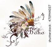 Boho Illustration With...