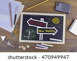 old habits  new habits signpost ... | Shutterstock . vector #470949947