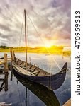 viking harbor with old boat in ... | Shutterstock . vector #470959313