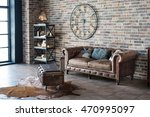 vintage interior with leather... | Shutterstock . vector #470995097
