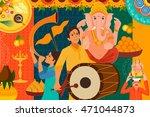 vector illustration of happy... | Shutterstock .eps vector #471044873