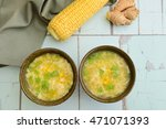 corn egg soup. flat lay