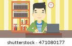 an asian young student sitting... | Shutterstock .eps vector #471080177
