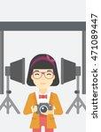 an asian young photographer... | Shutterstock .eps vector #471089447