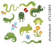 set of different reptiles on... | Shutterstock .eps vector #471113843
