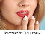 lip skin care. closeup of... | Shutterstock . vector #471119387