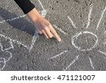 hand girl draws by a chalk... | Shutterstock . vector #471121007