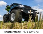 suv with big wheels in the field