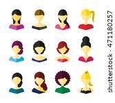 set of colorful girls icon | Shutterstock .eps vector #471180257