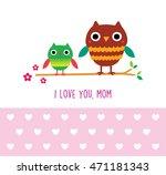cute owl i love you mom... | Shutterstock .eps vector #471181343