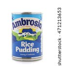 Small photo of SWINDON, UK - AUGUST 20, 2016: Tin of Ambrosia rice pudding on a white background
