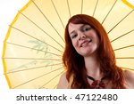 beautiful red headed girl with... | Shutterstock . vector #47122480