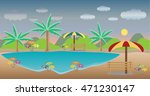 lake landscape  tree chair with ... | Shutterstock .eps vector #471230147