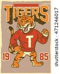 Vintage Mascot Of Tiger