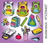 back to school big doodles set. ... | Shutterstock .eps vector #471256607