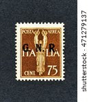 Small photo of 1943 Italy stamp: 75 Cent Air mail overprint GNR