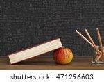 apple under book  back to...   Shutterstock . vector #471296603