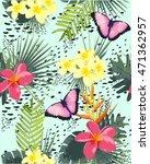 seamless tropical flower... | Shutterstock .eps vector #471362957