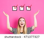 check list concept with young... | Shutterstock . vector #471377327