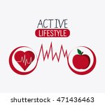 heart apple healthy lifestyle... | Shutterstock .eps vector #471436463