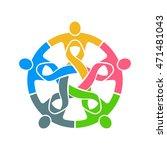 people pink ribbon teamwork.... | Shutterstock .eps vector #471481043