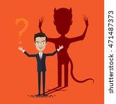 businessman with demon shadow... | Shutterstock .eps vector #471487373
